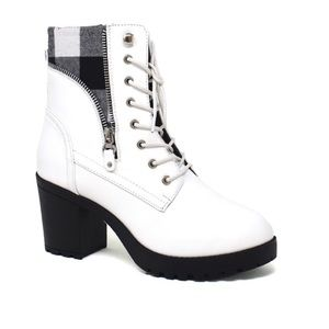 White Lace Up Chunky Heel Plad Inset Combat boot
